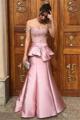 Pink Mermaid Tiered Evening Dresses   Off-the-Shoulder Appliques Prom Dresses with Beadings_4