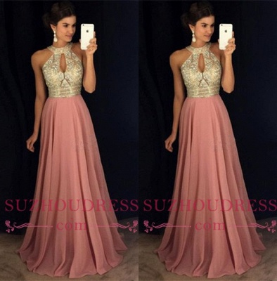 Crystals High Neck Sleeveless Sexy Prom Dresses  Pink Chiffon Keyhole Evening Gown_3