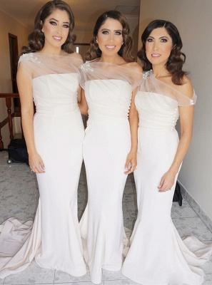 Elegant Sheath One Shoulder Bridesmaid Dresses |  Simple Appliques Wedding Party Dresses_1