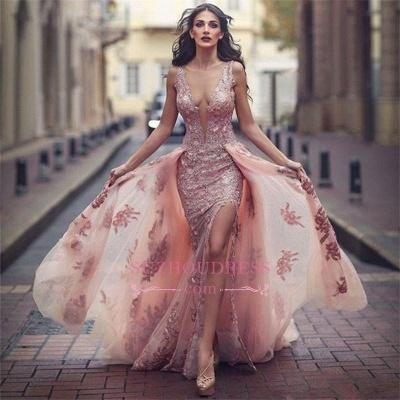 V-neck Amazing Pink Formal Dress  Overskirt Front Appliques Slit Tulle Lace Evening Dress BA6127_1