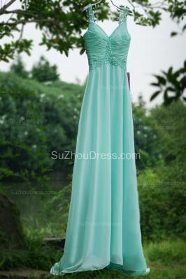 Modern Blue Prom Dresses V Neck Sequined Crystal Beading Sash Pleats Floor Length Zipper Chiffon Beach Evening Gowns_5