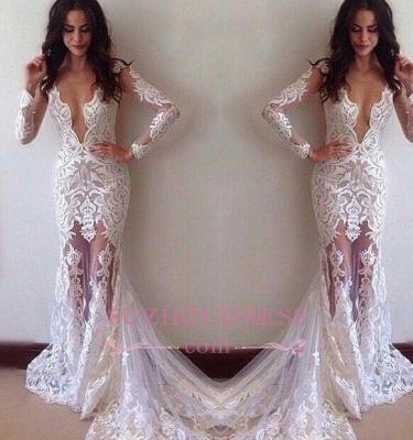 Sexy Glamorous Sheath Appliques Lace Long-Sleeves Prom Dress BA3814_3