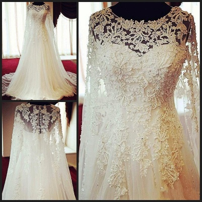 Elegant Long Sleeve Tulle Long Wedding Dress Lace Applique Court Train Formal Bridal Gowns_3