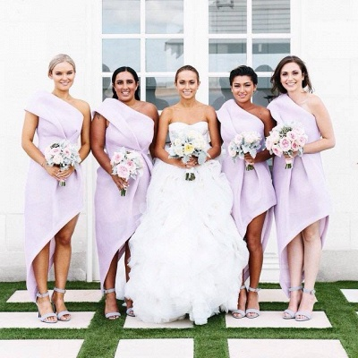 Lavender One Shoulder Chiffon Bridesmaid Dresses Latest Simple Irregular Wedding Dress BA3676_2