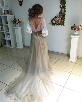 Elegant Open Back Evening Dress Long Sleeve Flowers Prom Dress ba3812_3