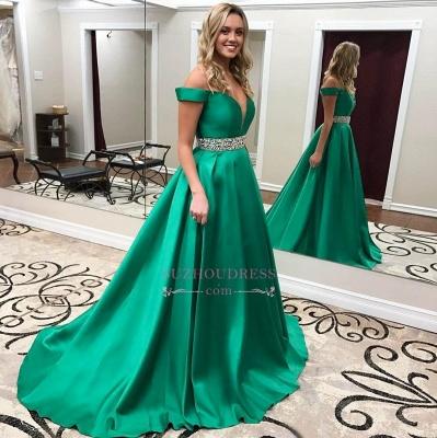 Green Gorgeous Off-the-Shoulder Evening Gowns  Crystals Belt Popular Prom Dress BA6196_1