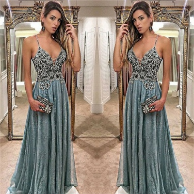 New Arrival A-Line Spaghetti Straps Prom Dresses  Appliques Evening Gowns_3