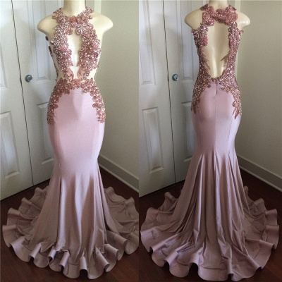 Pink Sleeveless Mermaid Prom Dresses  | Open Back Beads Crystals Appliques Evening Gown BA8042_5