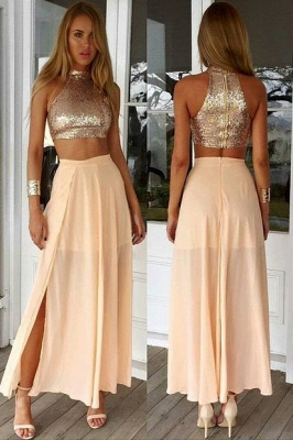 Sexy High Collar Two Piece Prom Dress  Sequined Chiffon Formal Occasion Dresses_1