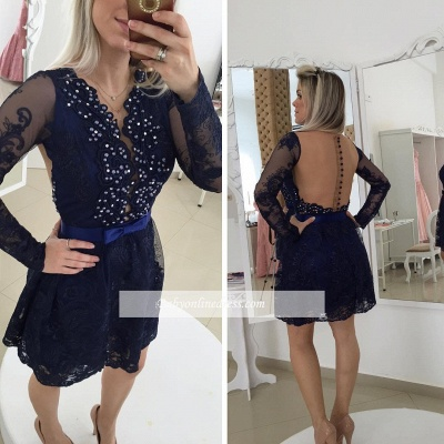 Mini Bow Long Sleeve Beads Lace Popular  Homecoming Dress_3