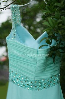 Modern Blue Prom Dresses V Neck Sequined Crystal Beading Sash Pleats Floor Length Zipper Chiffon Beach Evening Gowns_4