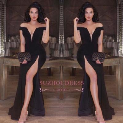Mermaid Front Split V-neck Evening Dresses  Black Newest Off The Shoulder Prom Dress_1