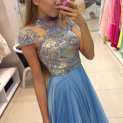 Blue Chiffon High Neck Prom Dresses   Short Sleeve Beading Evening Gowns BA3824_3