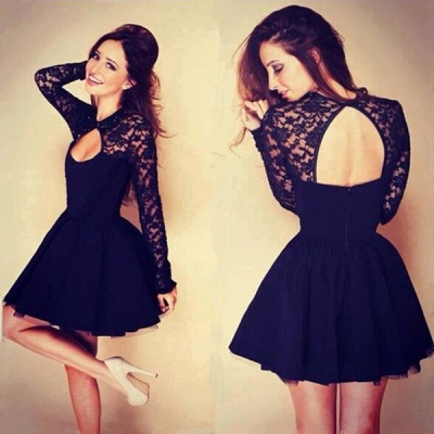 Cocktail Dresses  Jewel Long Appliques Sleeve Short Hollow Back Black  Homecoming Gowns_3