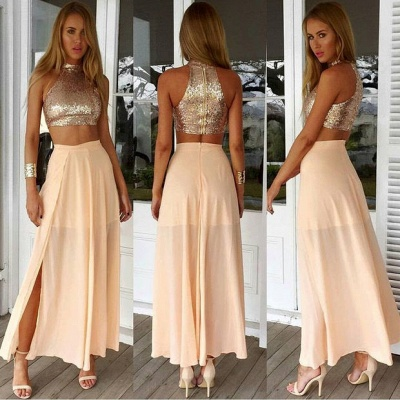 Sexy High Collar Two Piece Prom Dress  Sequined Chiffon Formal Occasion Dresses_3
