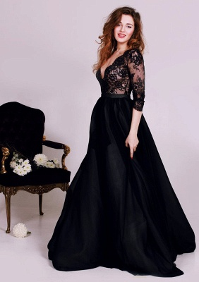 Black Deep V-Neck Lace Formal Occasion Dress Gorgeous A-Line 3/4 Long Sleeve Evening Gown JT127_1