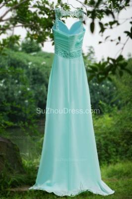 Modern Blue Prom Dresses V Neck Sequined Crystal Beading Sash Pleats Floor Length Zipper Chiffon Beach Evening Gowns_7