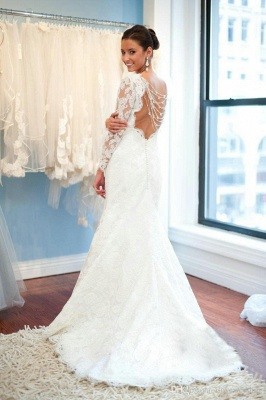 A-Line Lace Sweep Train Bridal Gown with Chain Popular Open Back Plus Size Wedding Dresses_2