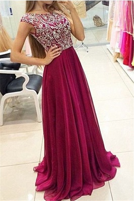 A-Line Crystal Chiffon Prom Dress Open Back Beading Zipper Evening Gown_1