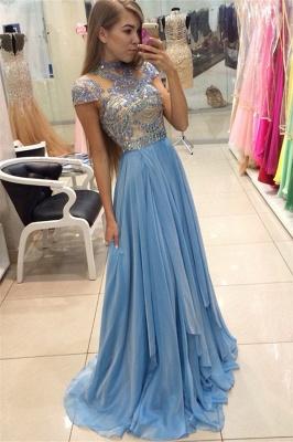Blue Chiffon High Neck Prom Dresses   Short Sleeve Beading Evening Gowns BA3824_1