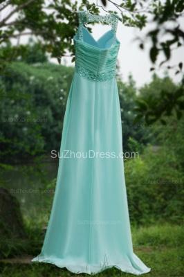 Modern Blue Prom Dresses V Neck Sequined Crystal Beading Sash Pleats Floor Length Zipper Chiffon Beach Evening Gowns_6
