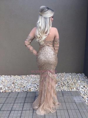Mermaid Long-Sleeve Prom Dress    Floor Length Evening Dresses with Crystal_1