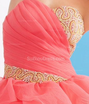Charming Sweetheart Quinceanera Dresses  Tiered Flowers Party Dresses with Beadings_2