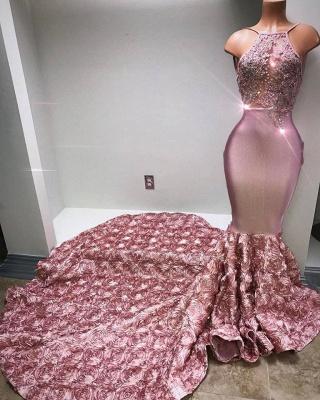Glamorous Mermaid Pink Prom Dresses  Halter Appliques Evening Dresses BA7797_1