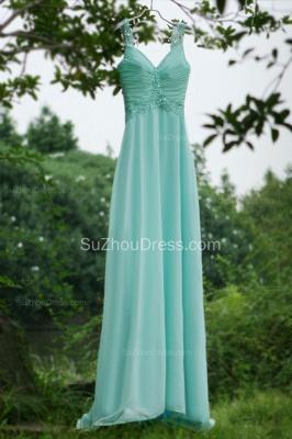 Modern Blue Prom Dresses V Neck Sequined Crystal Beading Sash Pleats Floor Length Zipper Chiffon Beach Evening Gowns_2