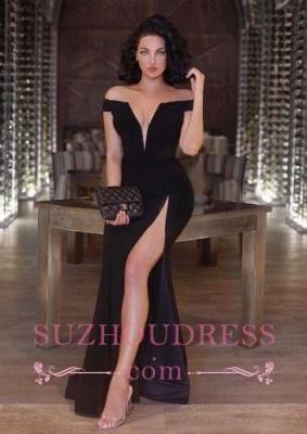 Mermaid Front Split V-neck Evening Dresses  Black Newest Off The Shoulder Prom Dress_3