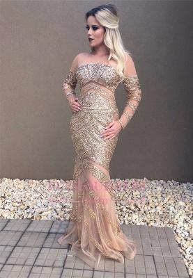 Mermaid Long-Sleeve Prom Dress    Floor Length Evening Dresses with Crystal_3