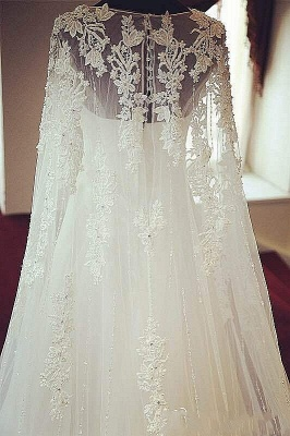 Elegant Long Sleeve Tulle Long Wedding Dress Lace Applique Court Train Formal Bridal Gowns_2
