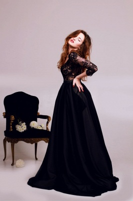 Black Deep V-Neck Lace Formal Occasion Dress Gorgeous A-Line 3/4 Long Sleeve Evening Gown JT127_3