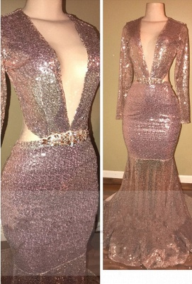 Backless Sequined Gorgeous V-neck Long-Sleeve Mermaid  Prom Dress BA5476_1