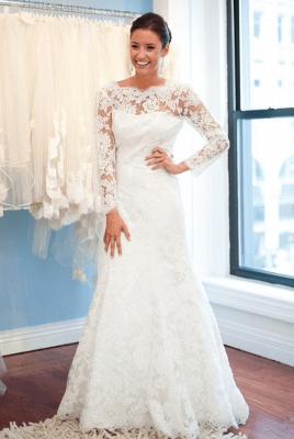 A-Line Lace Sweep Train Bridal Gown with Chain Popular Open Back Plus Size Wedding Dresses_1