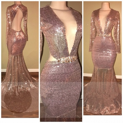 Backless Sequined Gorgeous V-neck Long-Sleeve Mermaid  Prom Dress BA5476_3