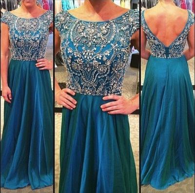 A-Line Crystal Chiffon Prom Dress Open Back Beading Zipper Evening Gown_4