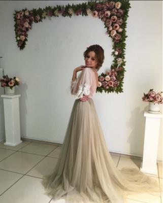 Elegant Open Back Evening Dress Long Sleeve Flowers Prom Dress ba3812_4