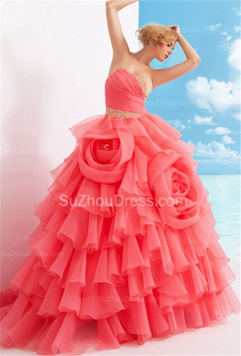 Charming Sweetheart Quinceanera Dresses  Tiered Flowers Party Dresses with Beadings_4