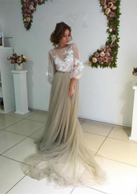 Elegant Open Back Evening Dress Long Sleeve Flowers Prom Dress ba3812_1