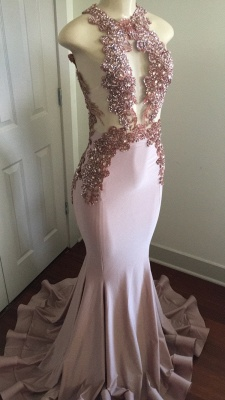 Pink Sleeveless Mermaid Prom Dresses  | Open Back Beads Crystals Appliques Evening Gown BA8042_3