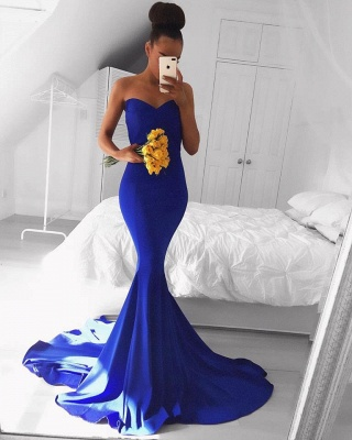Simple Royal Blue Sweetheart Prom Dresses  Mermaid Sexy Evening Gowns_3