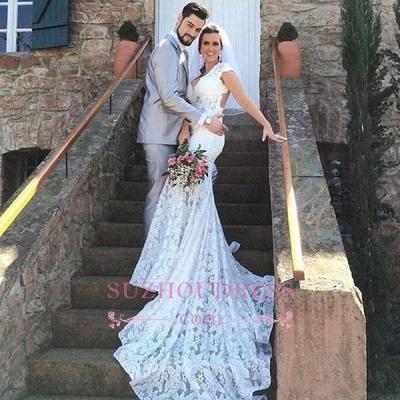 Lace Mermaid Sleeveless Elegant Open-Back V-Neck Wedding Dress BA5497_1