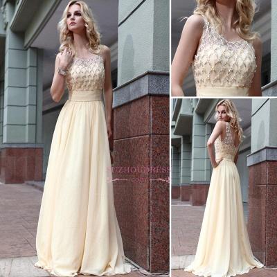 Newest Zipper Jewel A-line Sleeveless Chiffon Beads Prom Dress_3