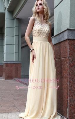 Newest Zipper Jewel A-line Sleeveless Chiffon Beads Prom Dress_4