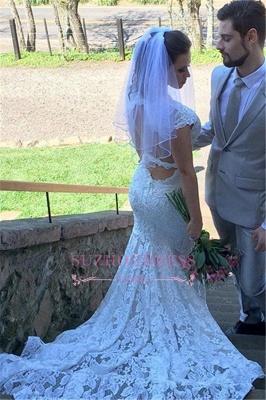 Lace Mermaid Sleeveless Elegant Open-Back V-Neck Wedding Dress BA5497_3