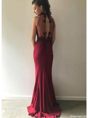 Burgundy Lace Bridesmaid Dresses   | Sleeveless Sheath Sexy Maid of Honor Dresses_3