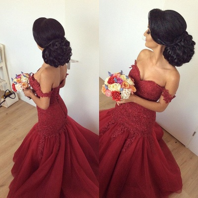 Off The Shoulder Mermaid Burgundy Evening Dresses  Lace Open Back Sexy Formal Dress FB0189_4