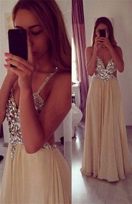 Sexy Beading Spaghetti Strap Prom Dress  Crossed Back Floor Length Dresses CE0144_1