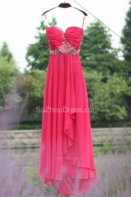 Side Draped Prom Gowns  Spaghetti Straps Sequined Beading Crystal Hi Lo Zipper Peachblow Chiffon Evening Dresses_6